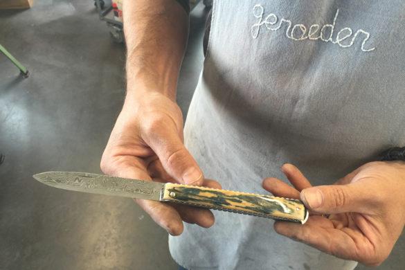 Artzaina lame damas et manche en ivoire de mammouth