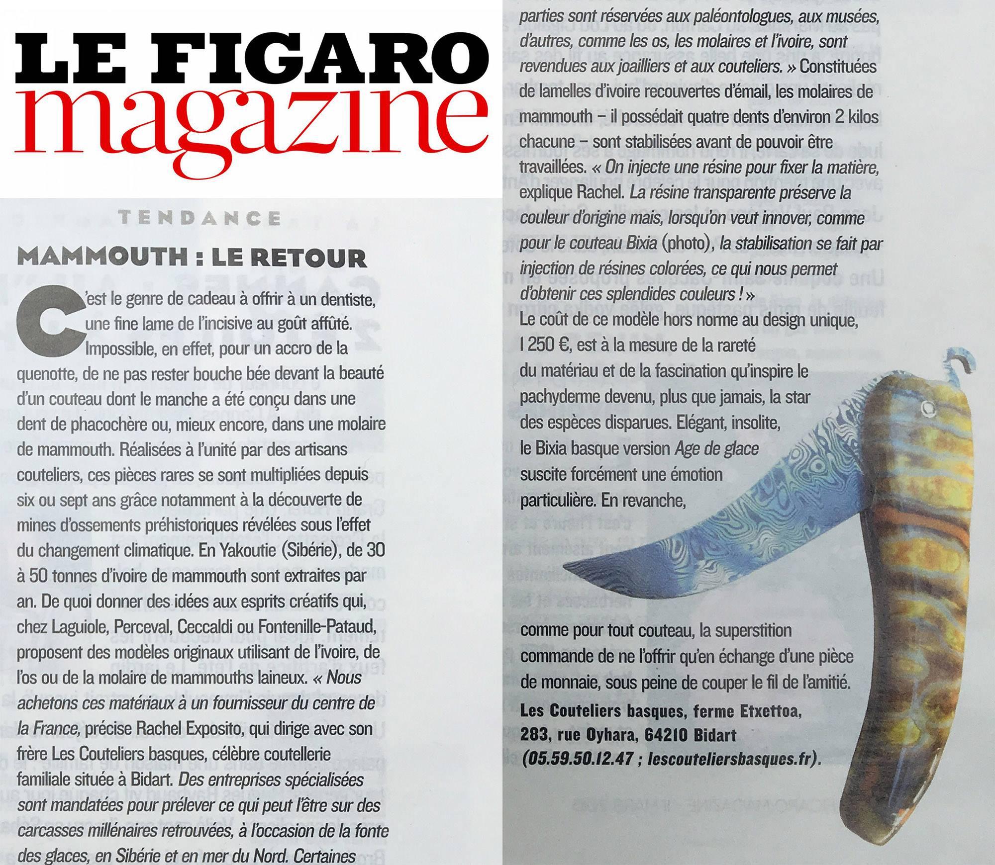 Les Couteliers Basques dans le Figaro Magazine