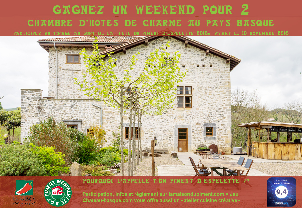 Gagnez un weekend pour 2 en chambre d'hôte pour la fête du Piment d'Espelette