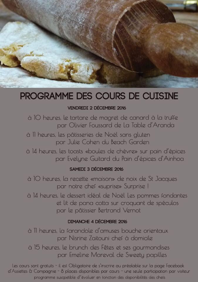 Programme des cours de cuisine gratuits d'assiette et cie
