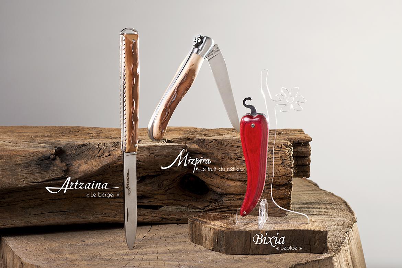 Couteaux Mizpira, Artzaina et Bixia des Couteliers Basques. Idées cadeaux pour homme